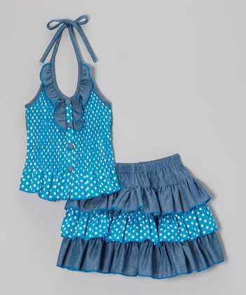 Denim Polka Dot Halter Top & Ruffle Skirt - Toddler & Girls