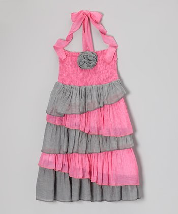 Pink & Gray Ruffle Halter Dress - Toddler & Girls