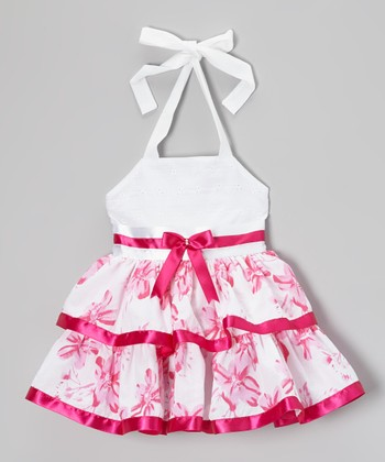White & Pink Floral Halter Dress - Toddler & Girls