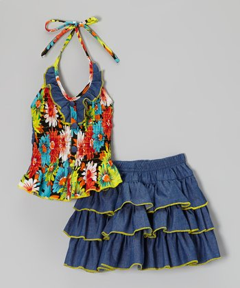 Denim & Yellow Floral Halter Top & Ruffle Skirt - Toddler & Girls