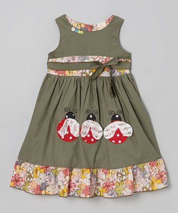 Olive Green Ladybug Ruffle Dress - Toddler & Girls