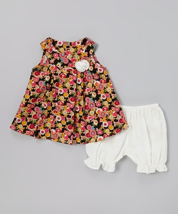 Black & Pink Floral Swing Dress & Bloomers - Infant