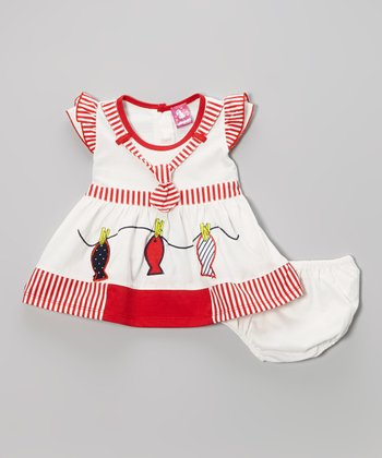 Red Stripe Fish Dress & Diaper Cover - Infant