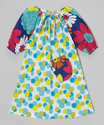Aqua & Green Polka Dot Floral Peasant Dress - Toddler & Girls