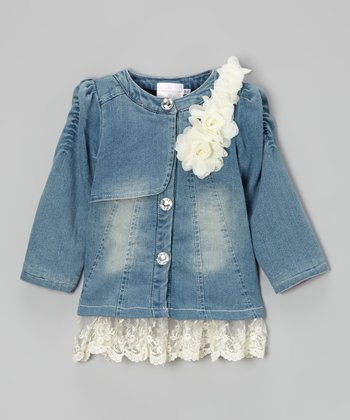 Denim Lace Flower Jacket - Toddler & Girls