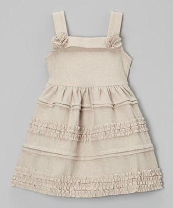 Light Gray Tiered Wool-Blend Swing Dress - Toddler & Girls