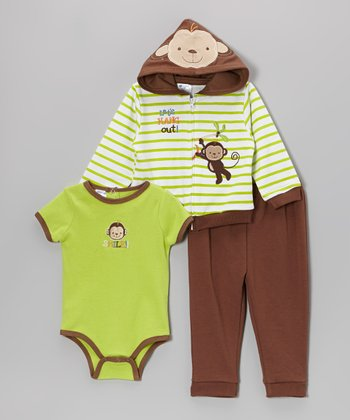 Green Stripe Monkey Zip-Up Hoodie Set - Infant