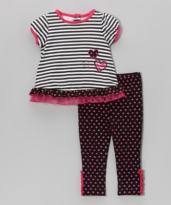 Weeplay Kids Hot Pink Stripe Tunic & Pants - Infant