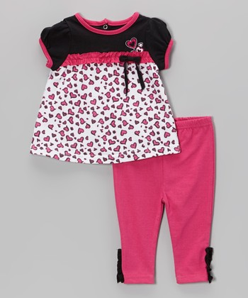 Weeplay Kids Hot Pink Hearts Tunic & Pants - Infant
