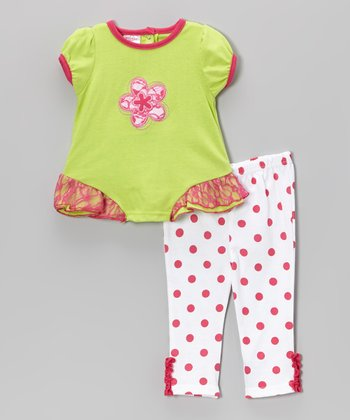 Weeplay Kids Lime Lace Flower Tunic & Pants - Infant