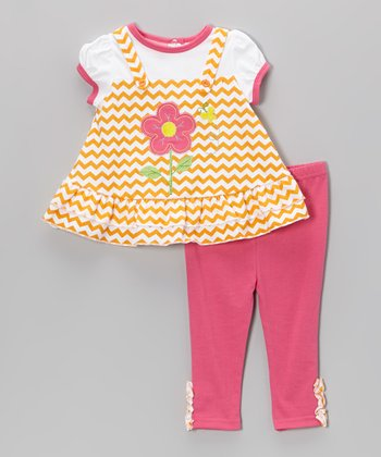 Weeplay Kids Orange Zigzag Flower Tunic & Pants - Infant