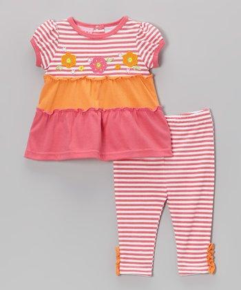 Weeplay Kids Pink Stripe Ruffle Tunic & Pants - Infant