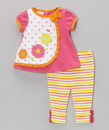 Weeplay Kids Pink Flower Ruffle Tunic & Pants - Infant