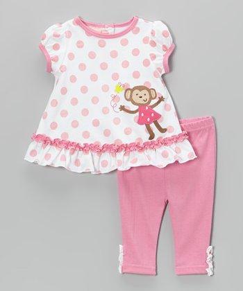 Weeplay Kids Pink Polka Dot Monkey Tunic & Pants - Infant