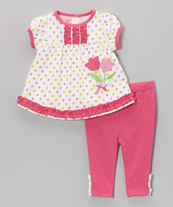 Weeplay Kids Pink Polka Dot Tulips Tunic & Pants - Infant