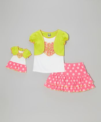 Pink & Green Polka Dot Skirt Set & Doll Outfit - Toddler & Girls