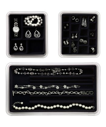 Black Jewelry & Necklace Drawer Organizer Set