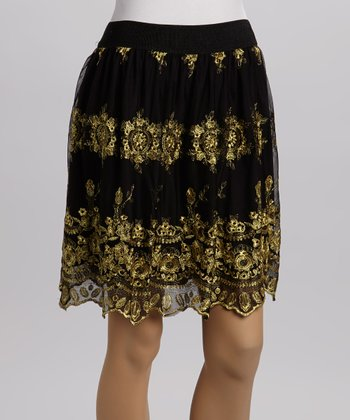 Black & Gold Floral Skirt
