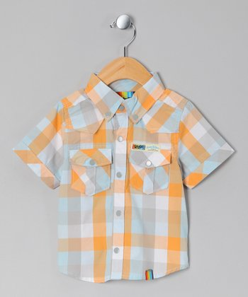 Yellow Plaid Western Button-Up - Infant & Toddler