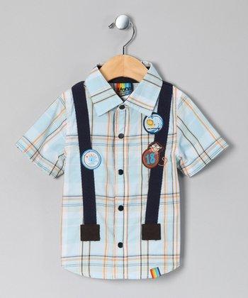 Blue Plaid Suspender Button-Up - Infant & Toddler