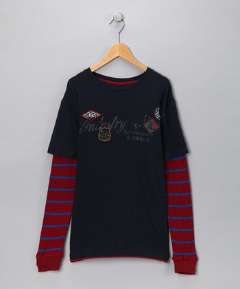 Industry 9 Navy & Red Layered Tee - Boys