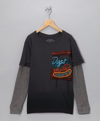 Industry 9 Gray 'Dogs' Layered Tee - Boys