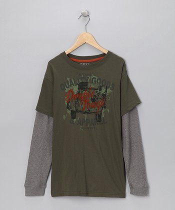 Industry 9 Olive Green Layered Tee - Boys