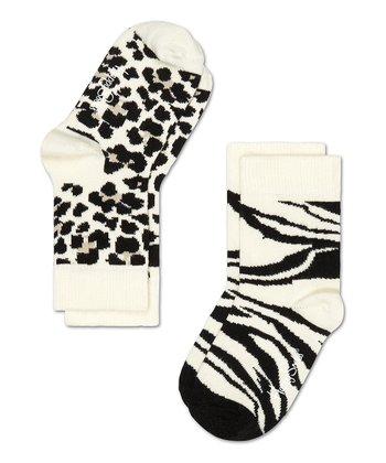Happy Socks Black & White Zebra Anklet Socks Set - Toddler & Kids