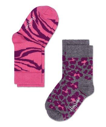 Happy Socks Pink & Purple Zebra Anklet Socks Set - Infant, Toddler & Kids