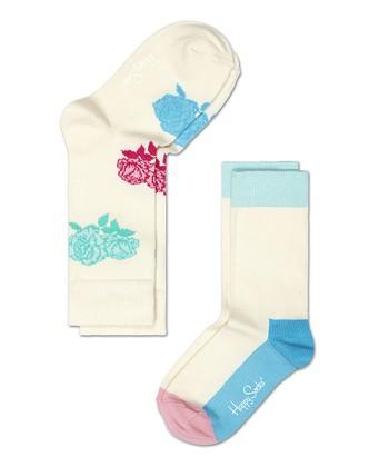 Happy Socks White & Blue Flower Anklet Socks Set - Infant, Toddler & Kids