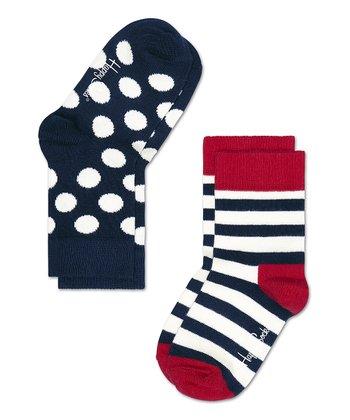 Happy Socks Navy Blue & White Polka Dot Anklet Socks Set - Infant, Toddler & Kids