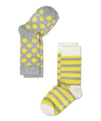 Happy Socks Gray & Yellow Polka Dot Anklet Socks Set - Infant, Toddler & Kids