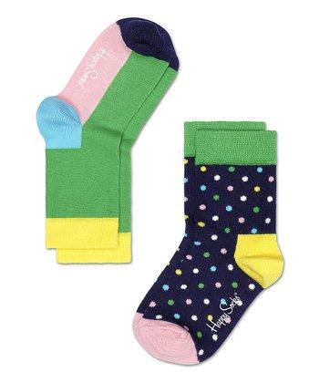 Happy Socks Green & Yellow Anklet Socks Set - Infant, Toddler & Kids