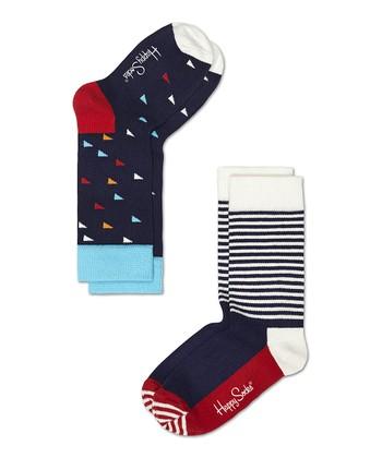 Happy Socks Navy Blue Triangle Anklet Socks Set - Infant, Toddler & Kids