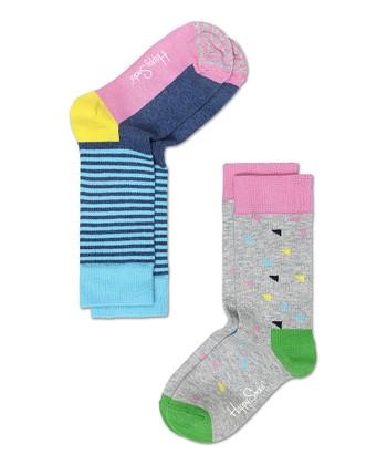 Happy Socks Gray & Green Triangle Anklet Socks Set - Infant, Toddler & Kids