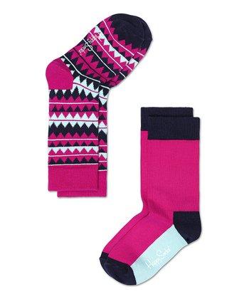 Happy Socks Pink & White Zigzag Anklet Socks Set - Infant, Toddler & Kids
