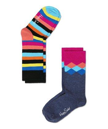 Happy Socks Coral & Blue Stripe Anklet Socks Set - Infant, Toddler & Kids