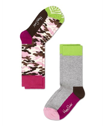 Happy Socks Pink Camo Anklet Socks Set - Infant, Toddler & Kids