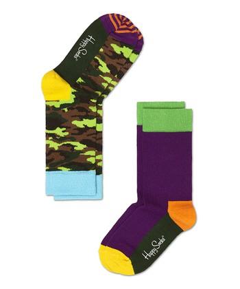 Happy Socks Green Camo Anklet Socks Set - Infant, Toddler & Kids