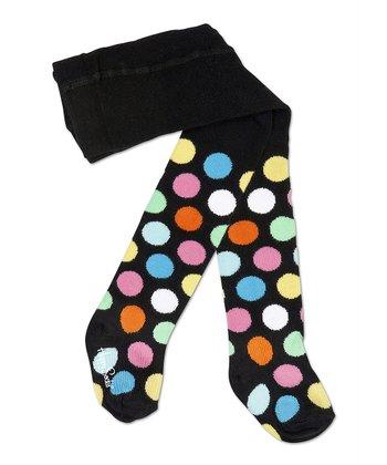Happy Socks Black & Blue Polka Dot Tights - Infant