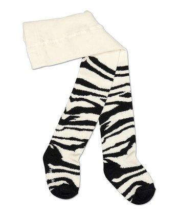 Happy Socks Black & White Zebra Tights - Infant
