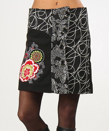 Black & Silver Leslie Wool-Blend Skirt