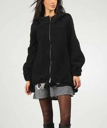 Black Rachel Wool-Blend Zip-Up Hoodie