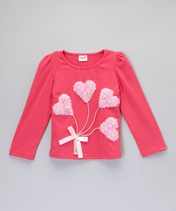 Red & Pink Heart Bouquet Tee - Toddler & Girls