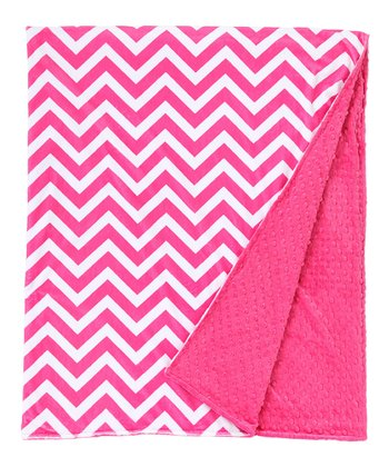 Fuchsia Zigzag Minky Throw Blanket