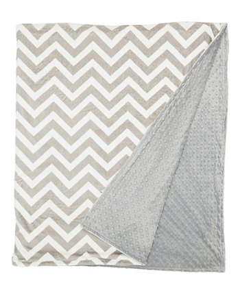 Gray Zigzag Minky Throw Blanket