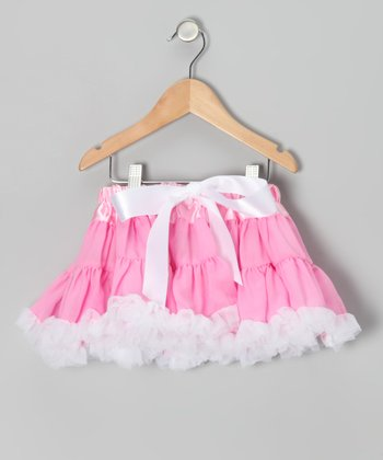 Pink & White Bow Pettiskirt - Infant & Girls