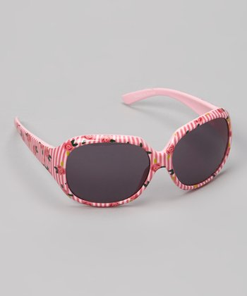Pink Stripe & Floral Butterfly Sunglasses