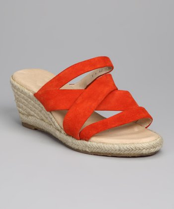 Orange Strappy Espadrille - Women