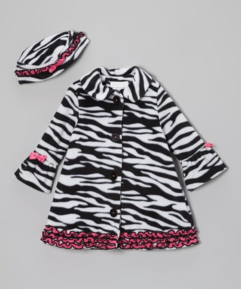 Black & White Zebra Swing Coat & Hat - Infant & Toddler